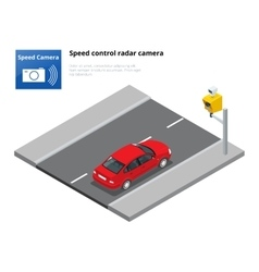 A speed control radar camera isolated on white vector image