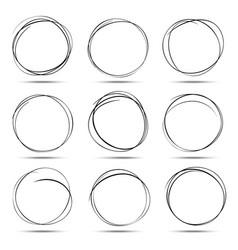 set of 9 hand drawn scribble circles vector image