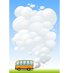 An orange bus emitting smoke vector