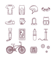 Bicycle and accessories thin line set sportive vector