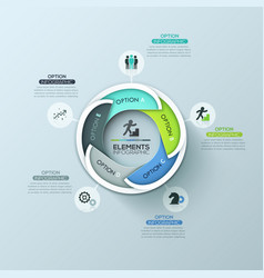Creative round infographic design layout with 5 vector