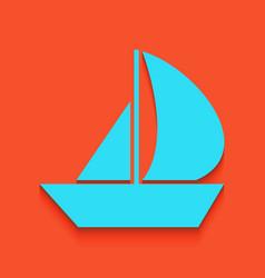 Sail boat sign whitish icon on brick wall vector