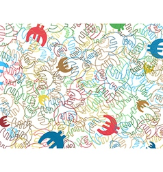 background with colorful symbols of euro currency vector image