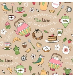Afternoon tea seamless background pattern vector