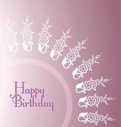 Purple floral birthday card templates vector