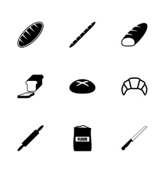 Black bakery icon set vector