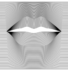 Female lips of black lines vector