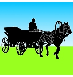 Silhouette horse and carriage with coachman vector