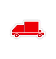 Icon sticker realistic design on paper car freight vector