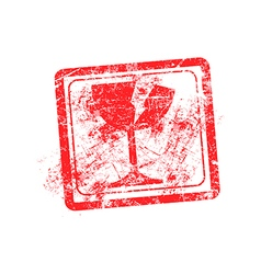 Glass icon red grunge rubber stamp vector