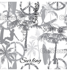 Surfing california grayscale seamless vector