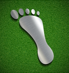 Footprint of steel on the surface of the grass vector