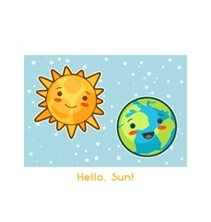 Hello Sun Kawaii space funny card Doodles with vector image