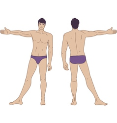 Standing naked man vector