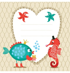 Greeting card with cute fish and seahorse vector image