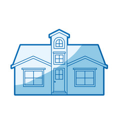 Blue shading silhouette facade house with attic vector