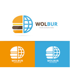 burger and planet logo combination vector image vector image