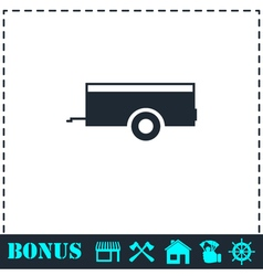 Car trailer icon flat vector