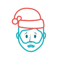 Cartoon man with christmas hat icon vector