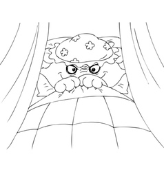 Coloring big bad wolf in granny bed vector