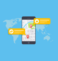 concept of a mobile map or navigator pop-up vector image vector image