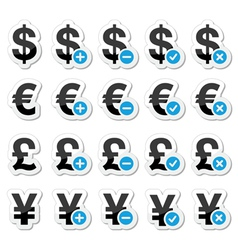Currency icons set - dollar euro yen pound vector image vector image