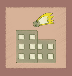 Flat shading style icon meteorite falling on house vector