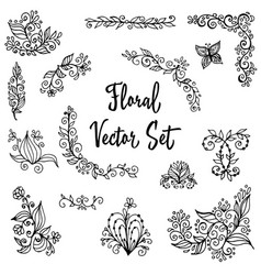 floral set of vintage hand painted vector image