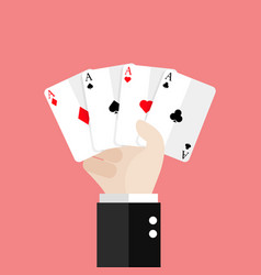 Four aces playing cards in hand vector
