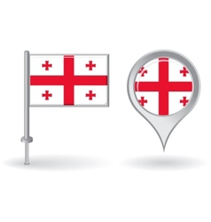 Georgian pin icon and map pointer flag vector