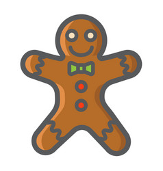 gingerbread man filled outline icon new year vector image vector image