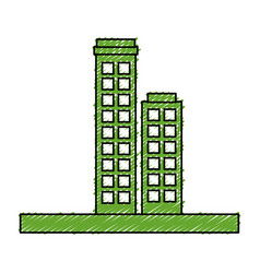 Green city buildings icon vector