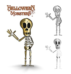 Halloween monsters spooky human skeleton EPS10 vector image