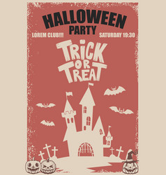 halloween party poster template scary castletrick vector image
