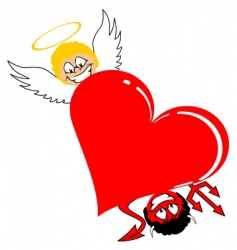heart with angel and devil vector image