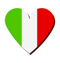 Heart with italy flag vector