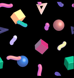 Memphis 80s 3d pattern with geometric shapes vector