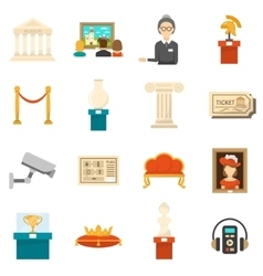 Museum decorative flat color icons set vector