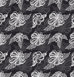 Seamless pattern with white flowers on a black vector image vector image