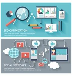 SEO optimization and social network vector image vector image