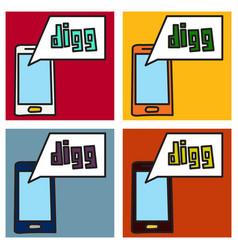 Set of unusual look web icon of modern social vector