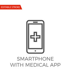 Smartphone with medical app icon vector