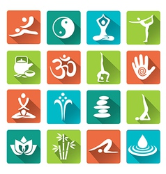 Spa yoga icons long shadows vector image vector image