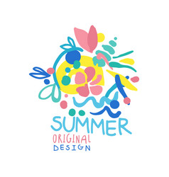 Summer logo original design colorful hand drawn vector