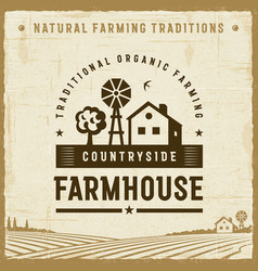 vintage countryside farmhouse label vector image