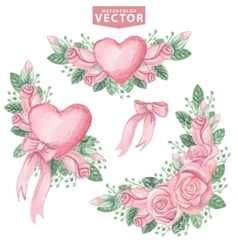 Watercolor pink roses groupCute vintage flowers vector image