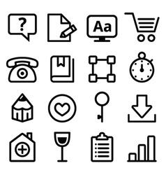 Web menu navigation line icons set - stroke style vector image vector image