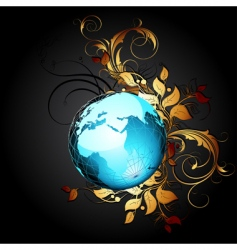 world with floral vector image vector image