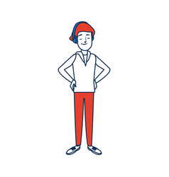 Young man standing character person vector