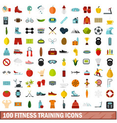 100 fitness training icons set flat style vector
